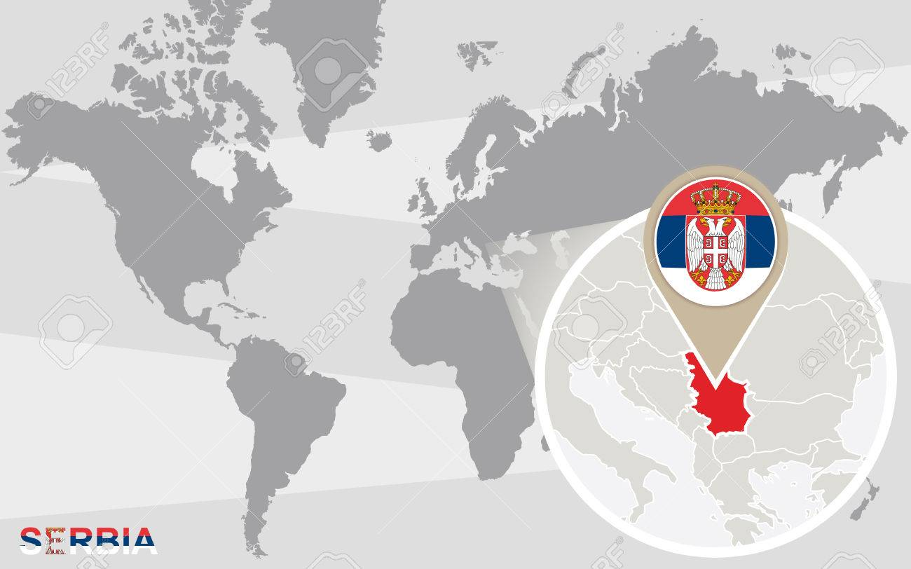 Picture of: World Map With Magnified Serbia Serbia Flag And Map Royalty Free Cliparts Vectors And Stock Illustration Image 47649896