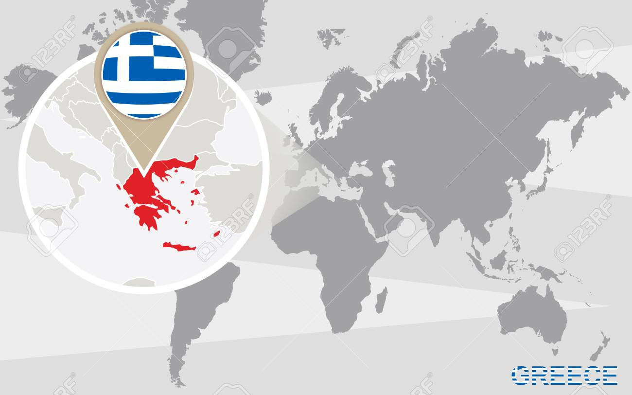World map with magnified Greece. Greece flag and map.