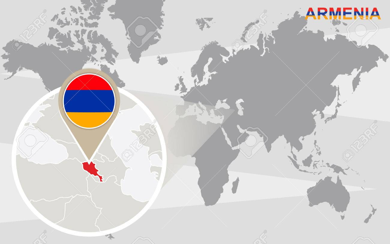 World Map With Magnified Armenia Armenia Flag And Map Royalty Free