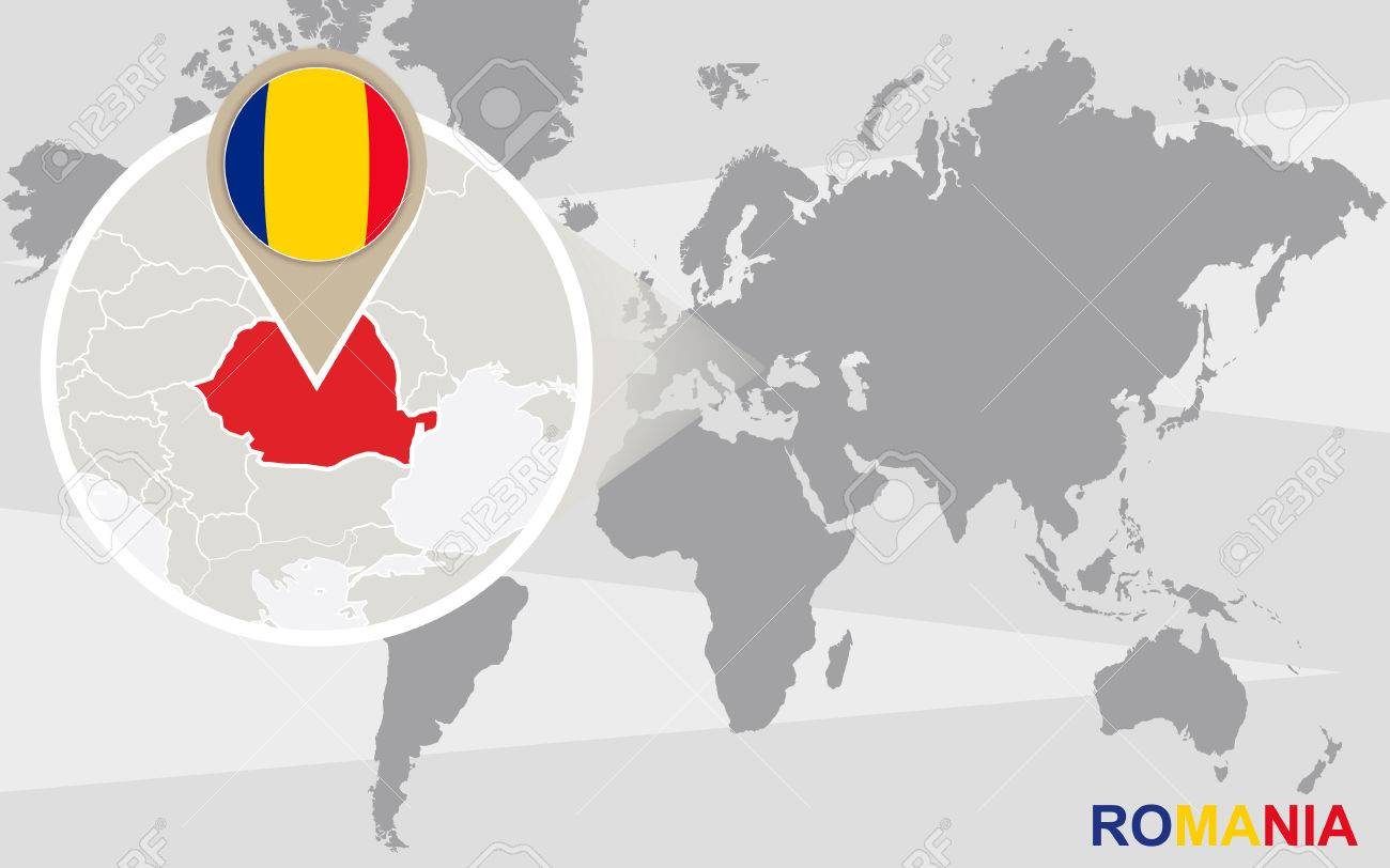 World Map With Magnified Romania Romania Flag And Map Royalty Free
