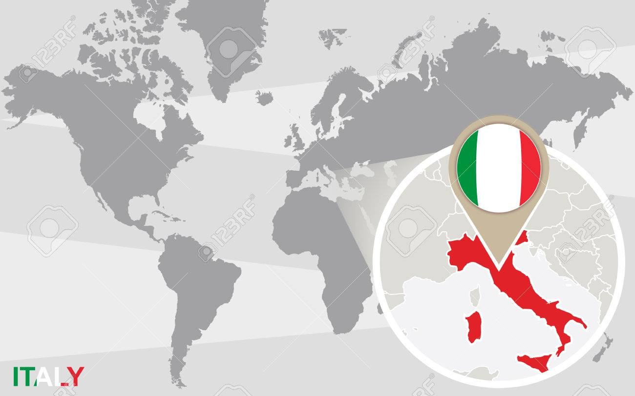 World Map With Magnified Italy Italy Flag And Map Royalty Free