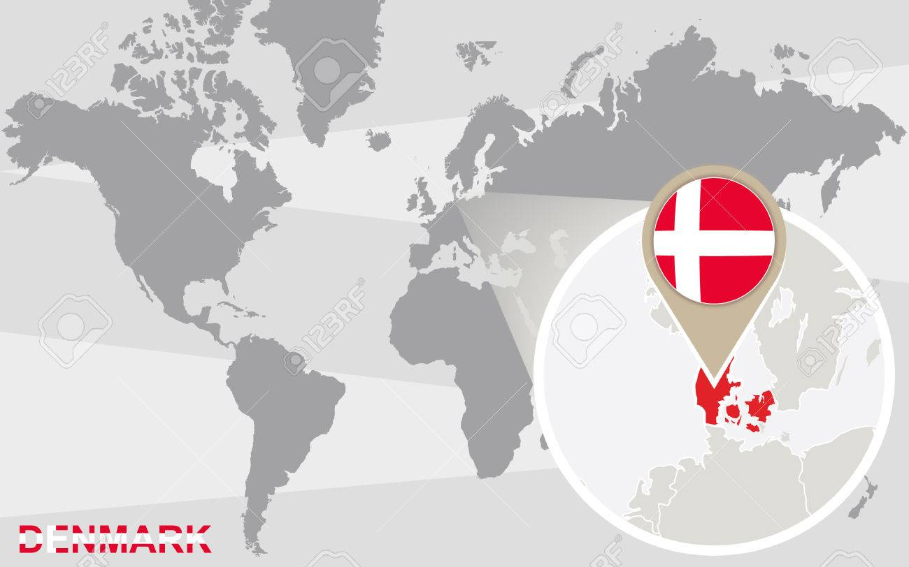 World map with magnified Denmark. Denmark flag and map.