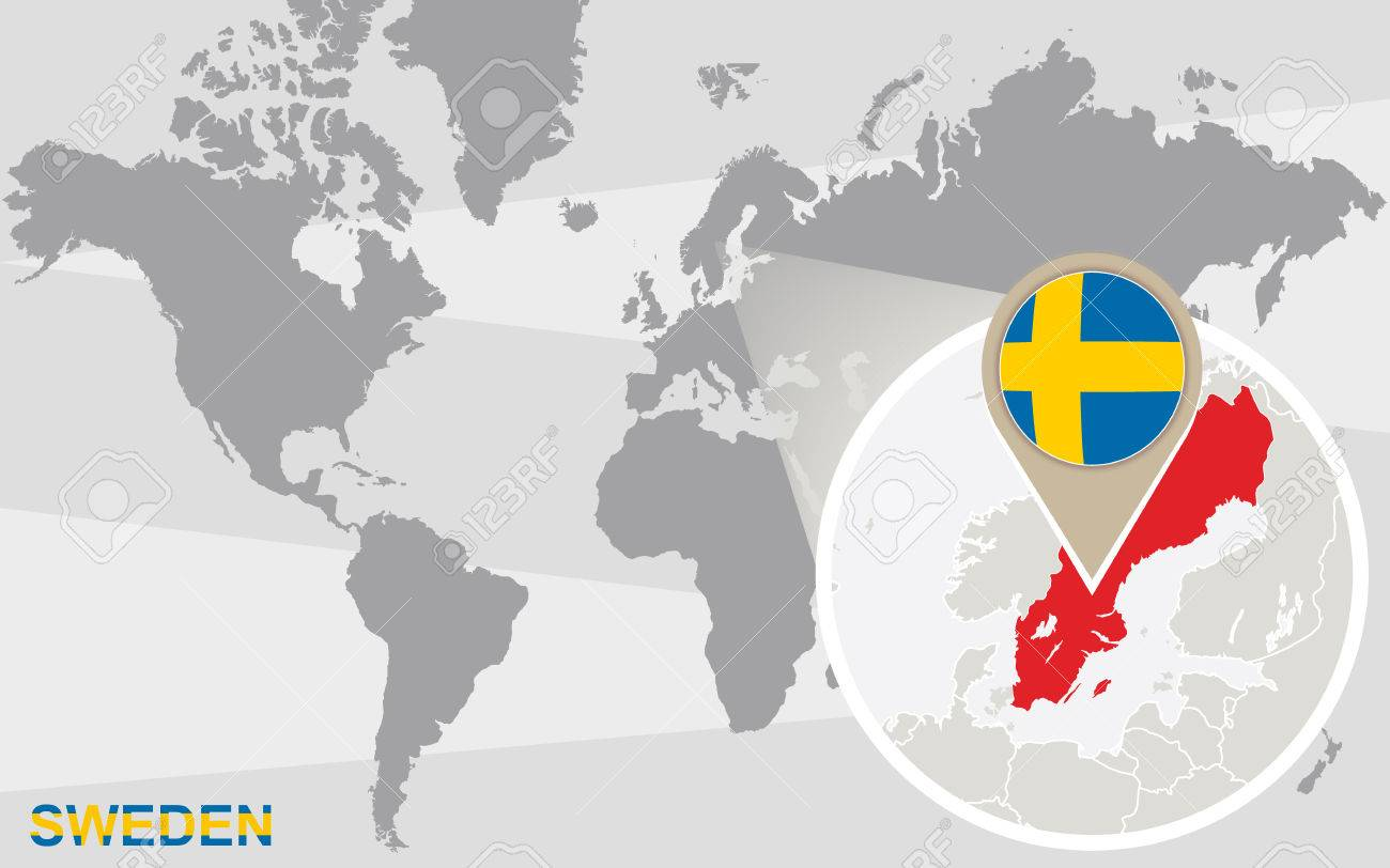 World map with magnified sweden sweden flag and map royalty free vector world map with magnified sweden sweden flag and map sciox Choice Image