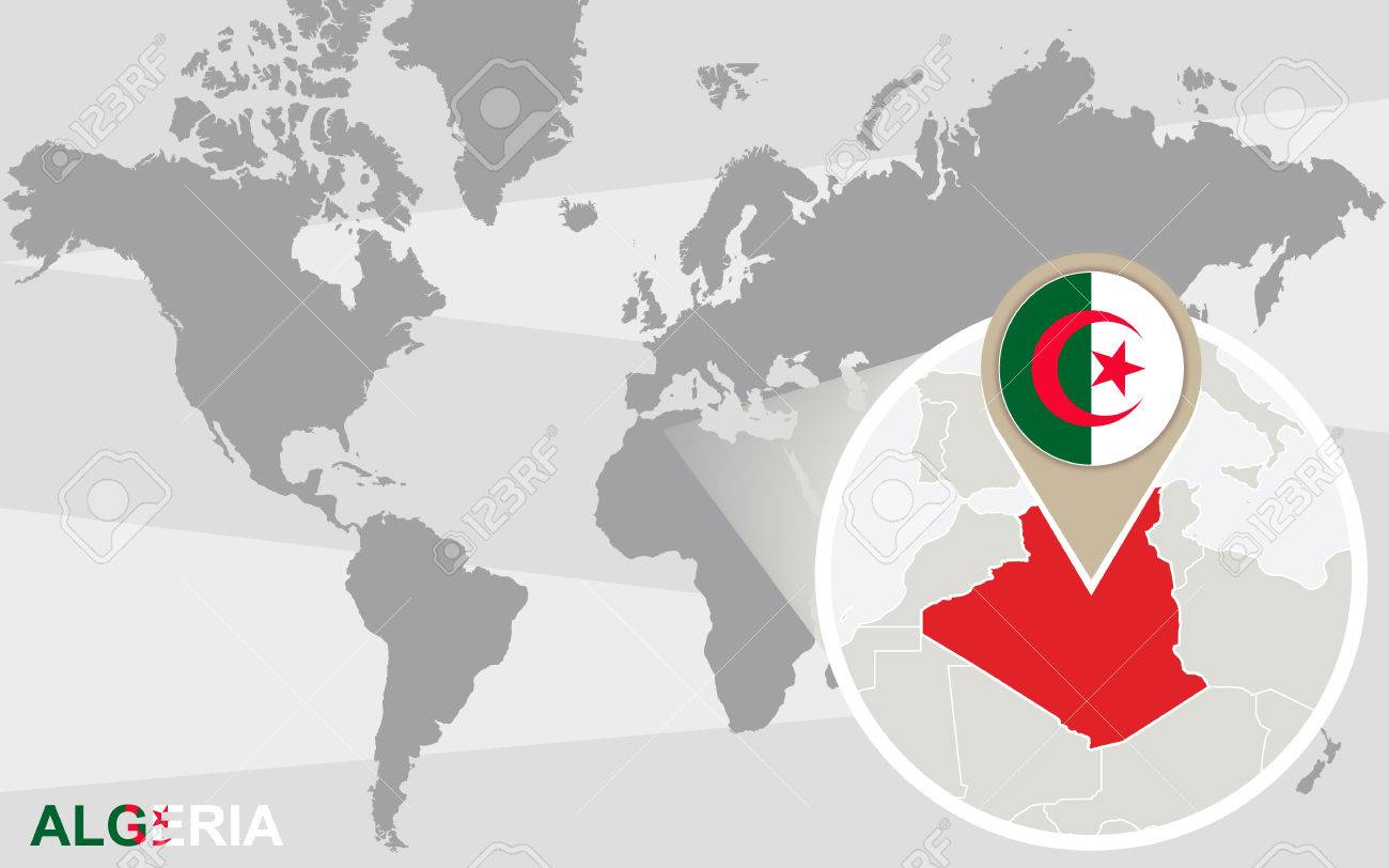 World map with magnified Algeria. Algeria flag and map.