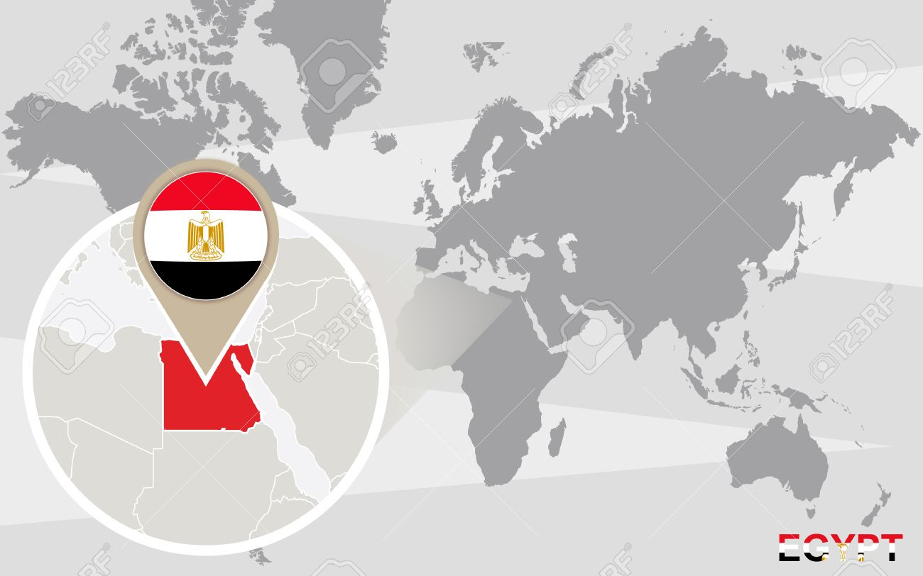 World Map With Magnified Egypt. Egypt Flag And Map. Royalty Free ...