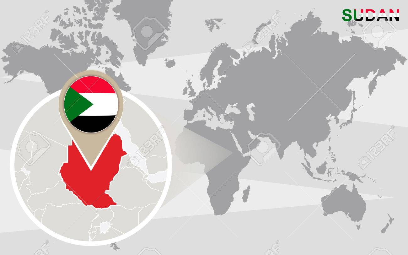 World Map With Magnified Sudan. Sudan Flag And Map. Royalty Free ...