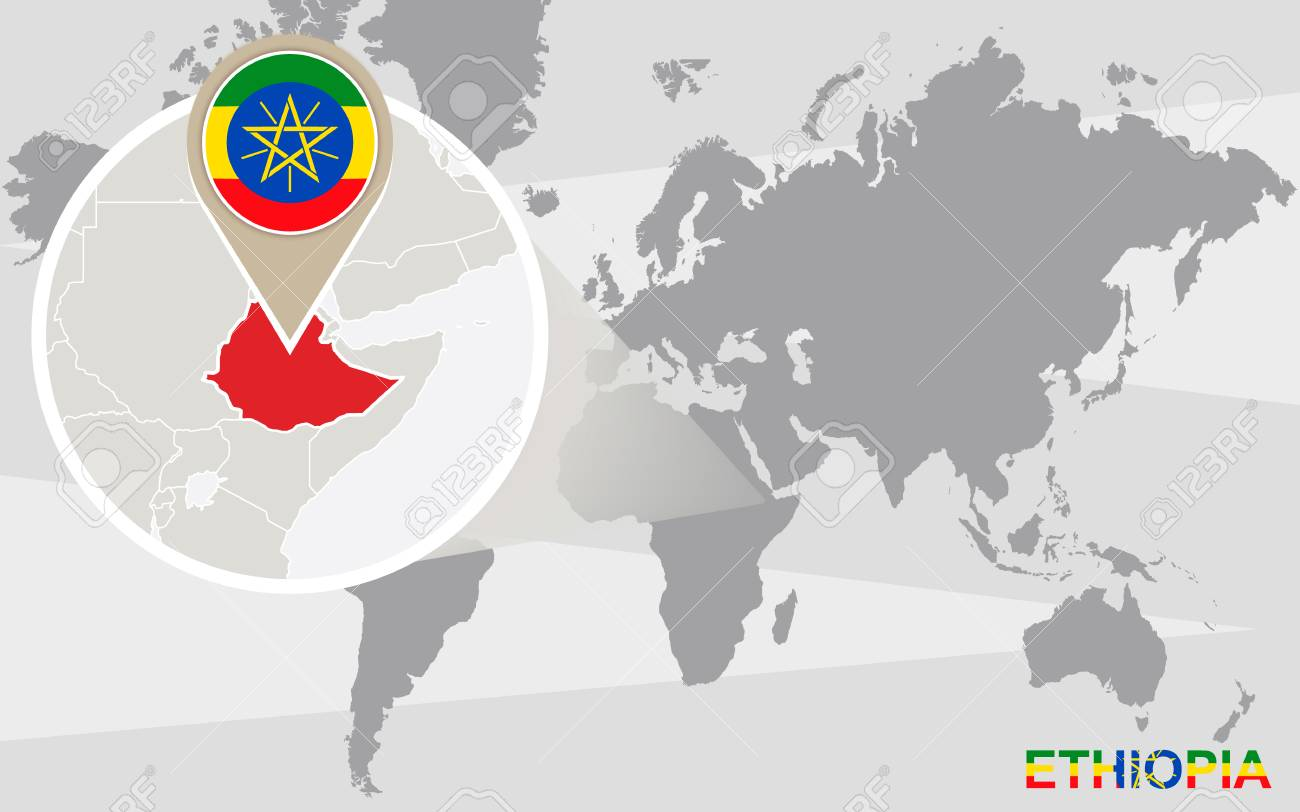 World Map With Magnified Ethiopia. Ethiopia Flag And Map. Royalty ...