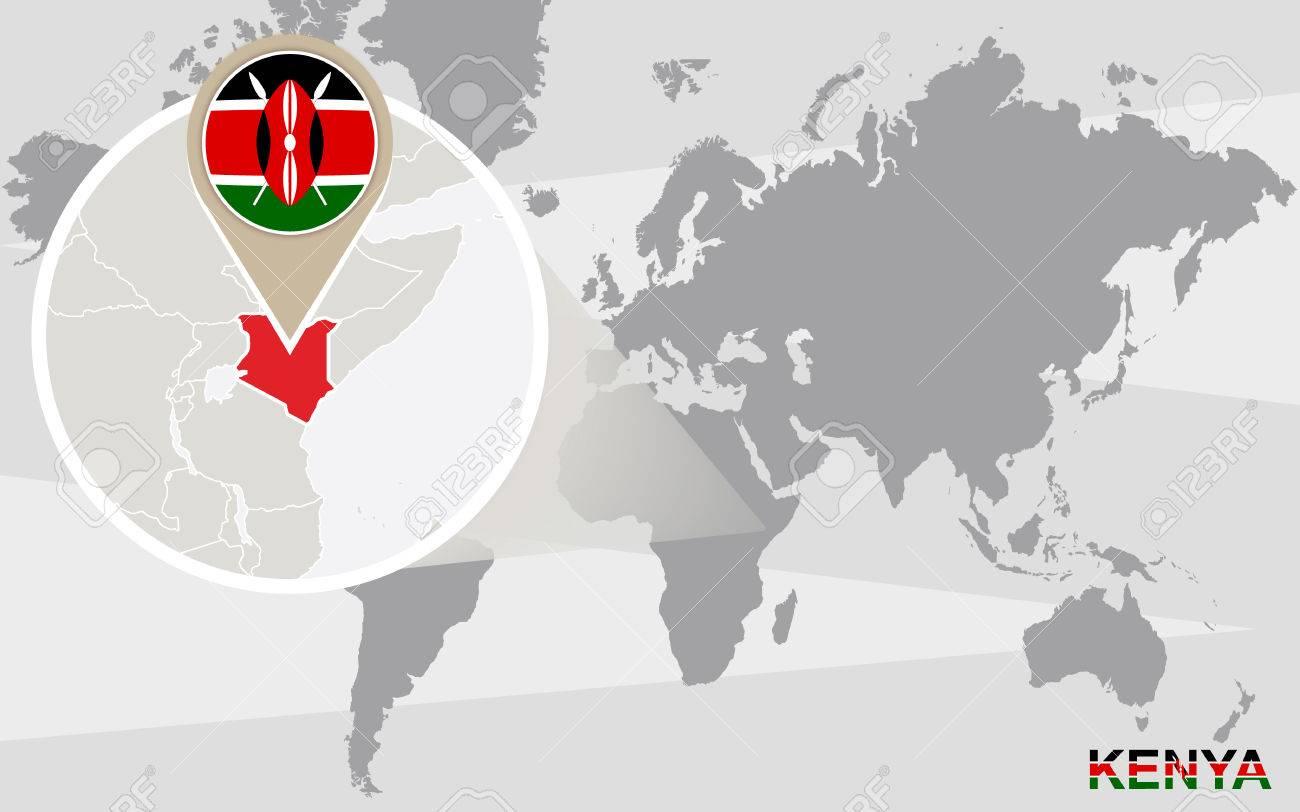 Image of: World Map With Magnified Kenya Kenya Flag And Map Royalty Free Cliparts Vectors And Stock Illustration Image 47876268