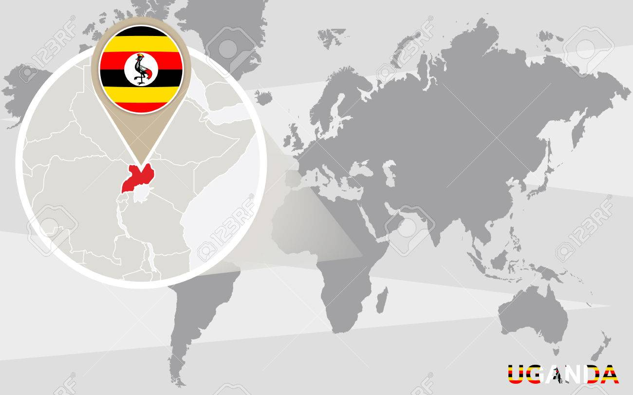 World map with magnified Uganda. Uganda flag and map.