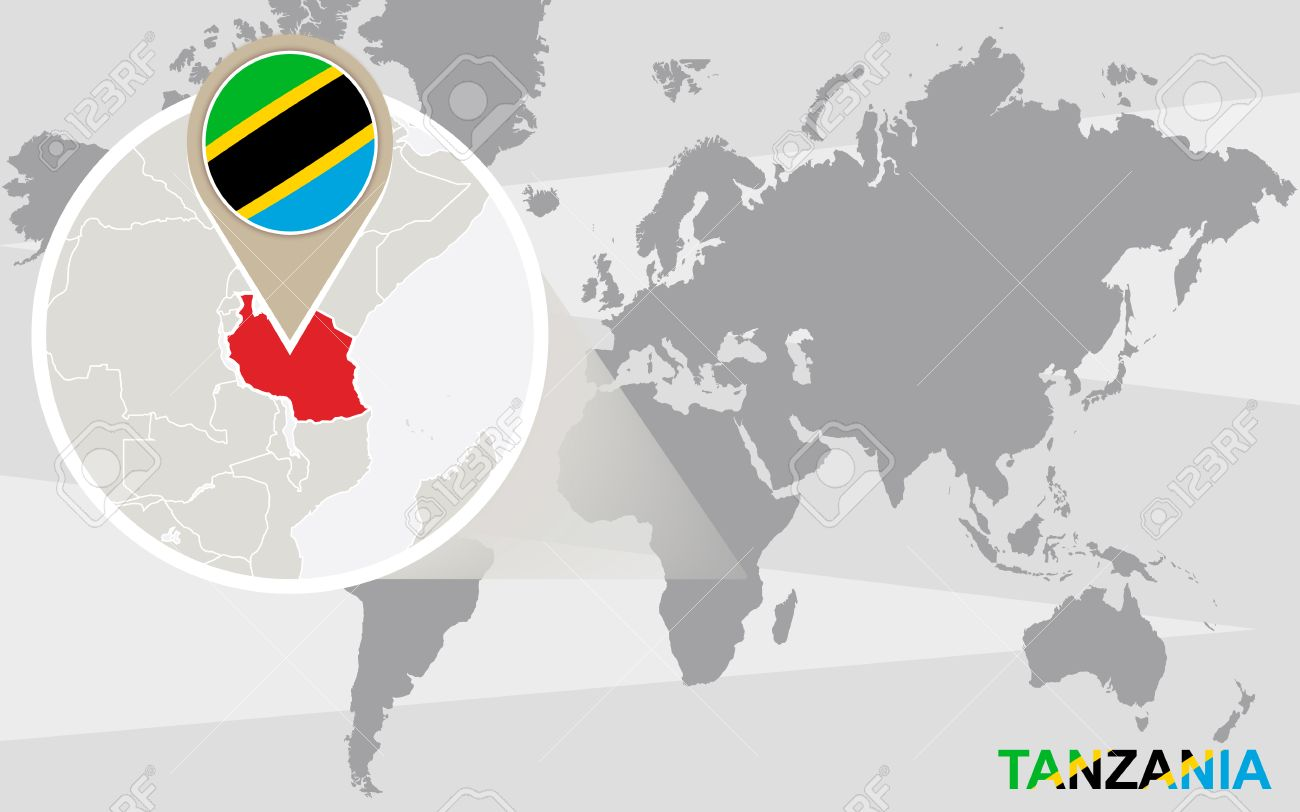 World Map With Magnified Tanzania Tanzania Flag And Map Royalty