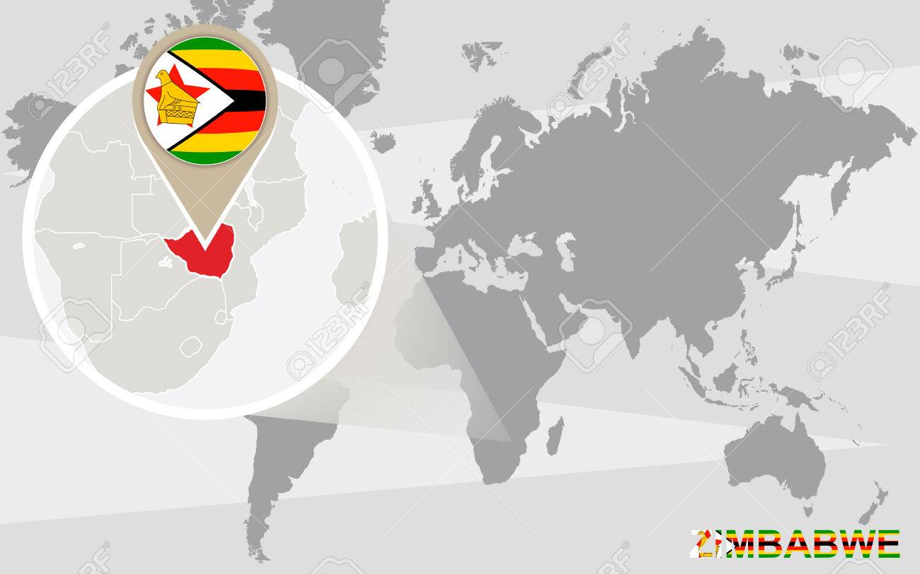 World Map With Magnified Zimbabwe Zimbabwe Flag And Map Royalty
