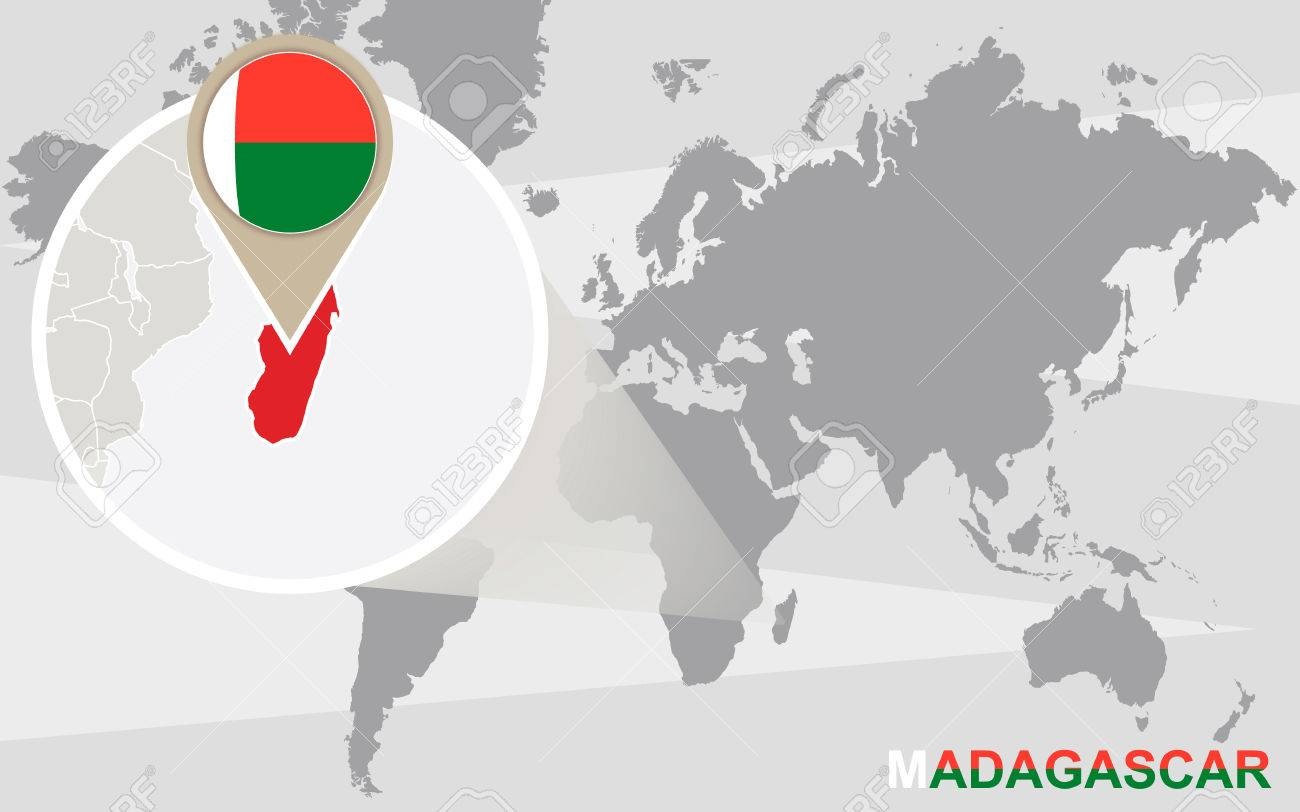 World map with magnified Madagascar. Madagascar flag and map.