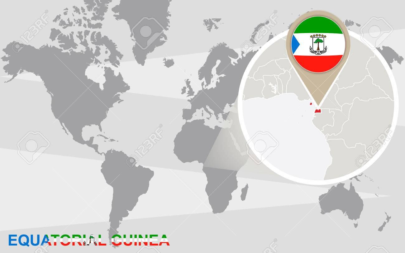 World map with magnified Equatorial Guinea. Equatorial Guinea..