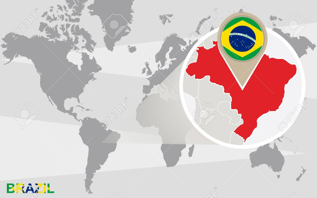 World map with magnified Brazil. Brazil flag and map. - 47876289