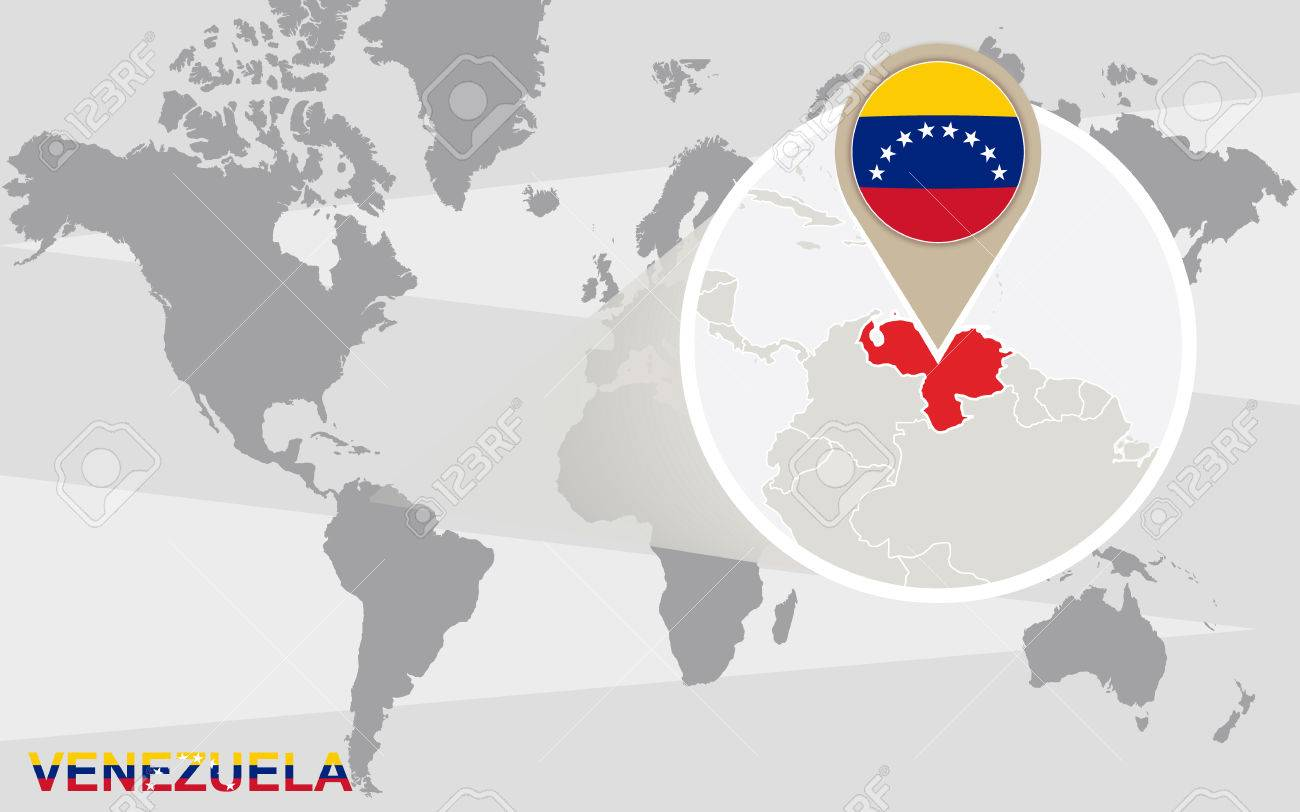 World Map With Magnified Venezuela. Venezuela Flag And Map. Royalty ...