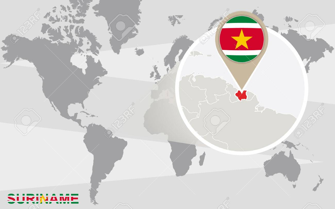 World Map With Magnified Suriname Suriname Flag And Map Royalty