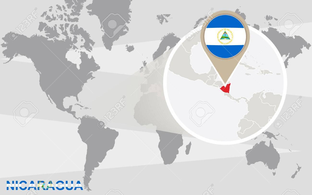 World Map With Magnified Nicaragua Nicaragua Flag And Map - Where is nicaragua on the world map