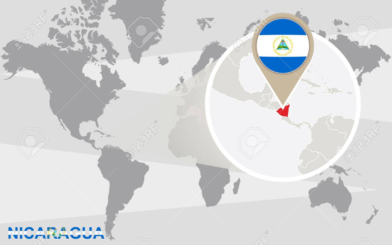 Where Is Nicaragua Located On A World Map.World Map With Magnified Nicaragua Nicaragua Flag And Map Royalty
