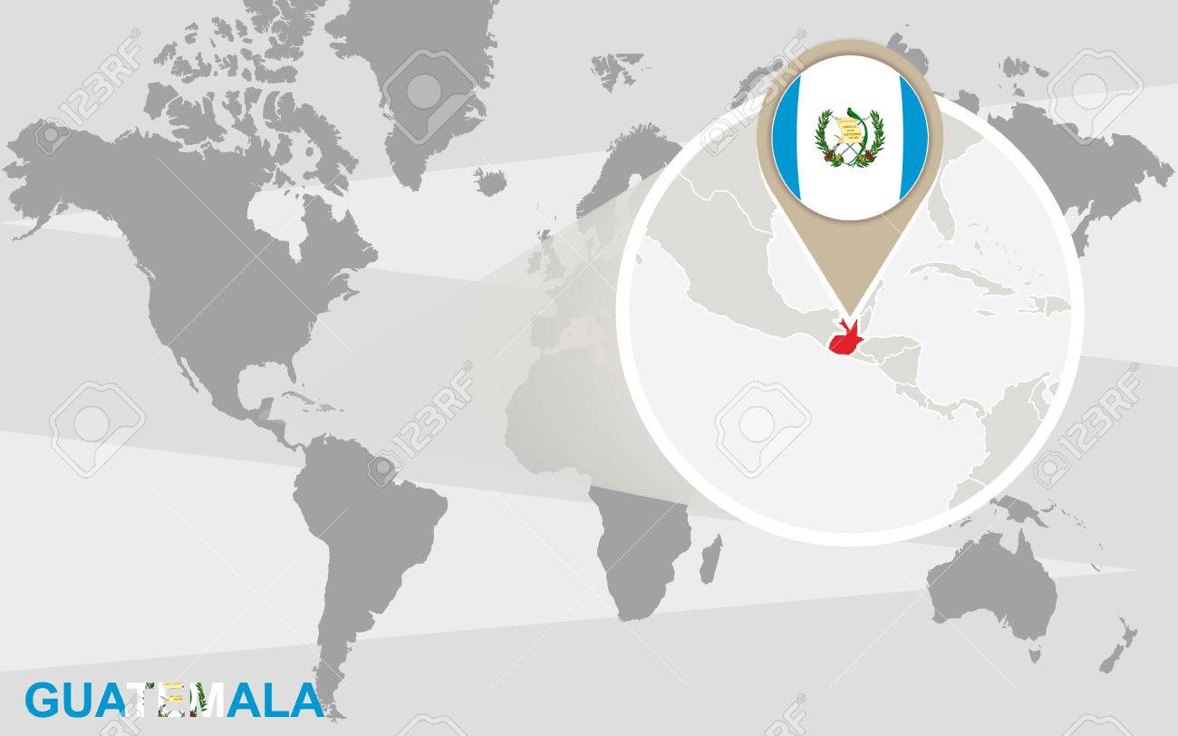 世界地図拡大グアテマラにグアテマラの国旗と地図