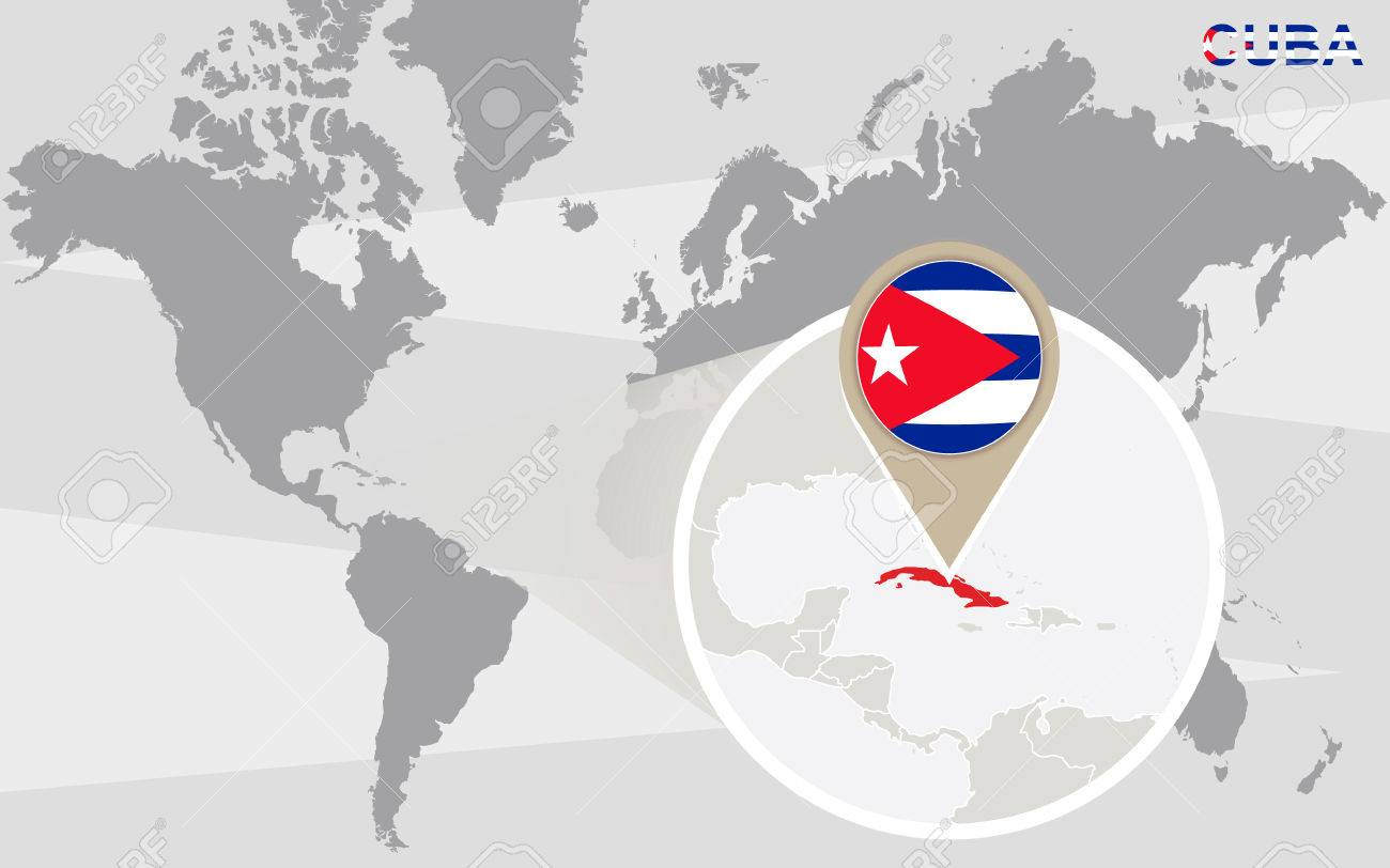 World Map With Magnified Cuba. Cuba Flag And Map. Royalty Free ...