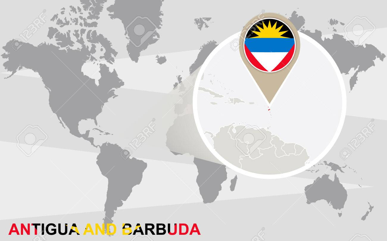 Antigua And Barbuda World Map.World Map With Magnified Antigua And Barbuda Antigua And Barbuda