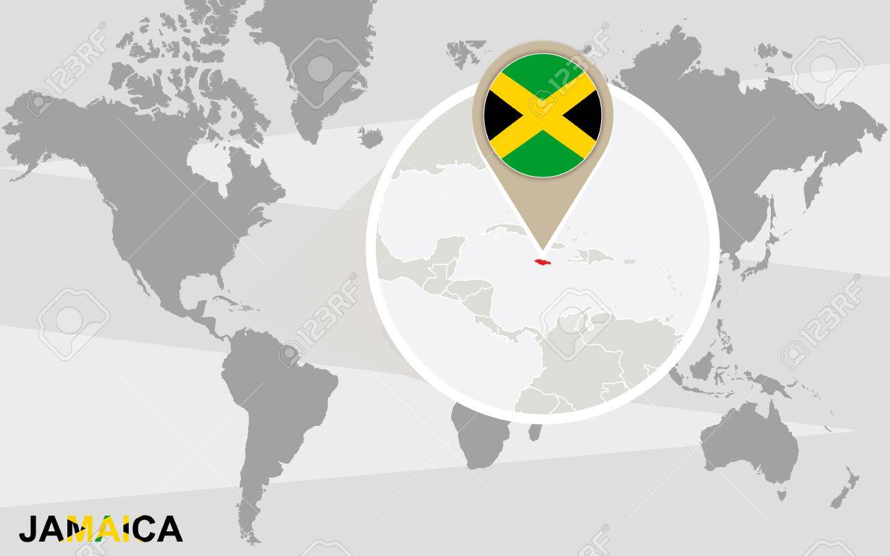 vector world map with magnified jamaica jamaica flag and map