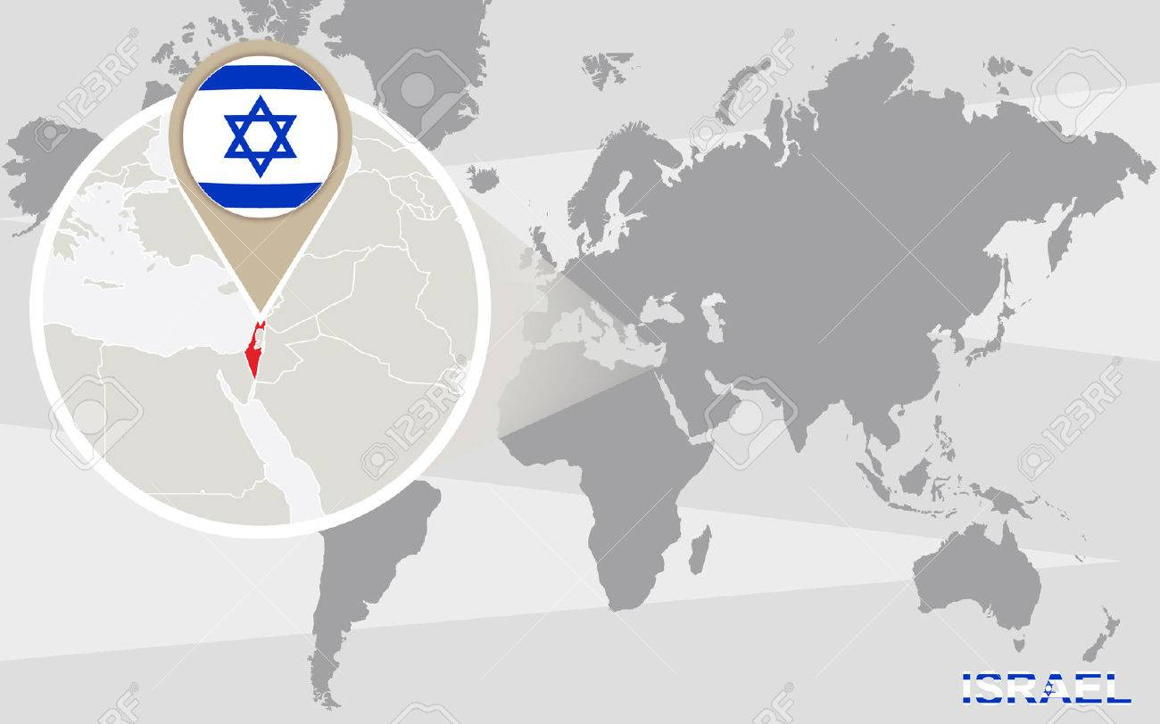 World Map With Magnified Israel. Israel Flag And Map. Royalty Free ...