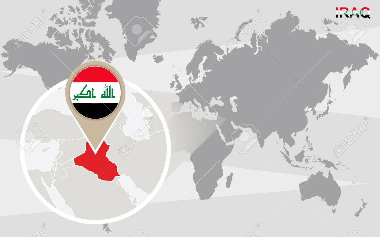 World Map With Magnified Iraq. Iraq Flag And Map. Royalty Free ...