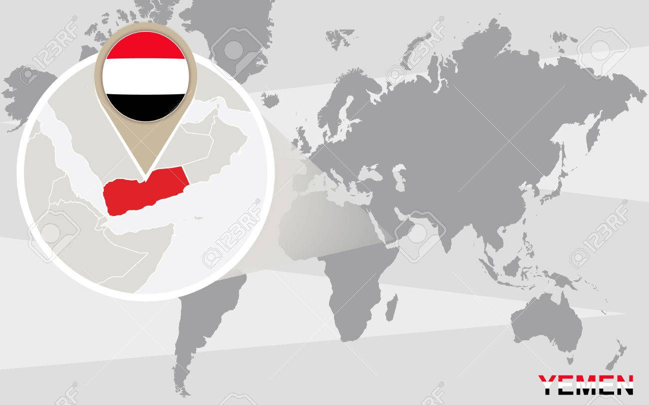 World map with magnified Yemen. Yemen flag and map.
