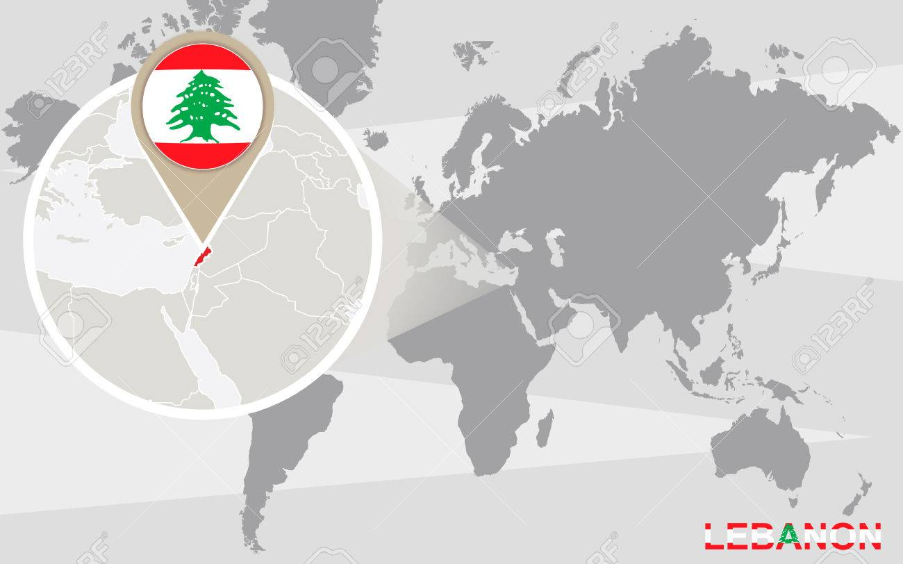 World Map With Magnified Lebanon. Lebanon Flag And Map. Royalty Free ...