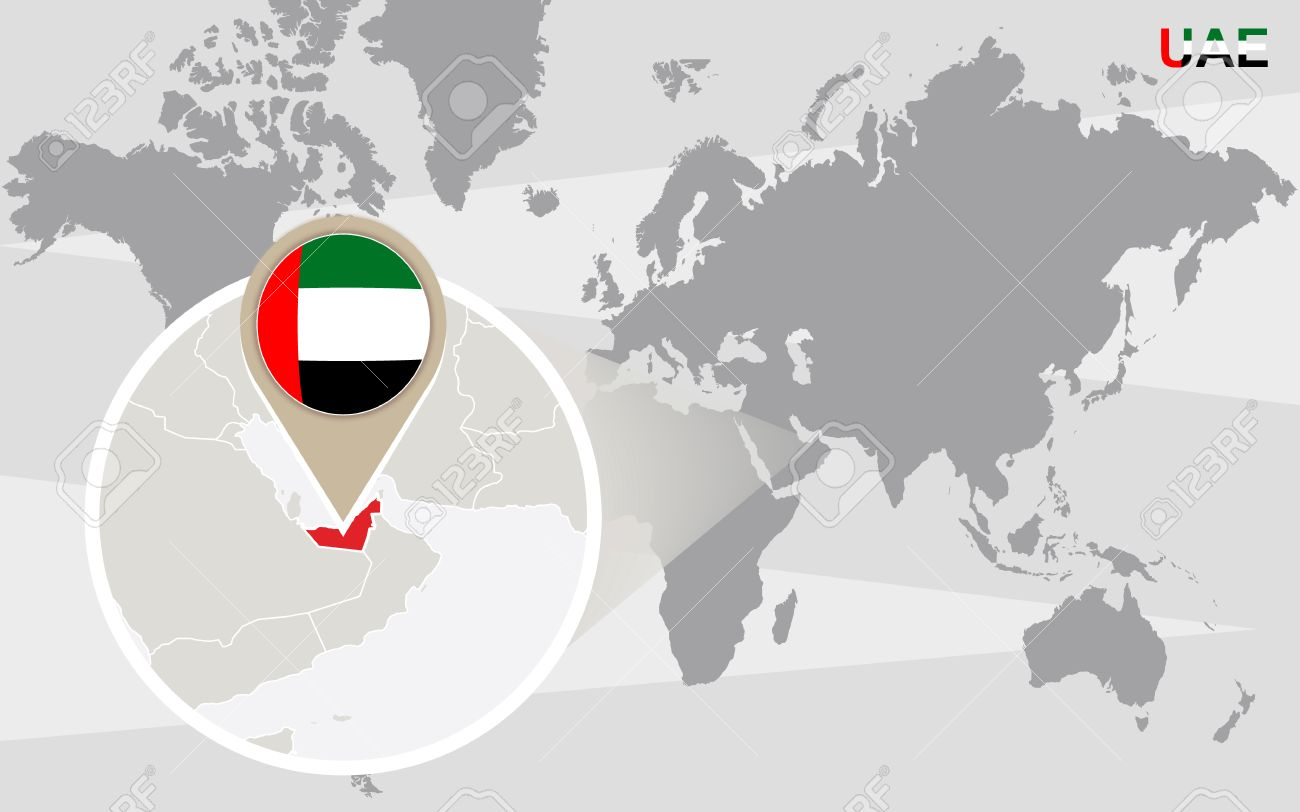 World map with magnified United Arab Emirates. UAE flag and map. - 50040936