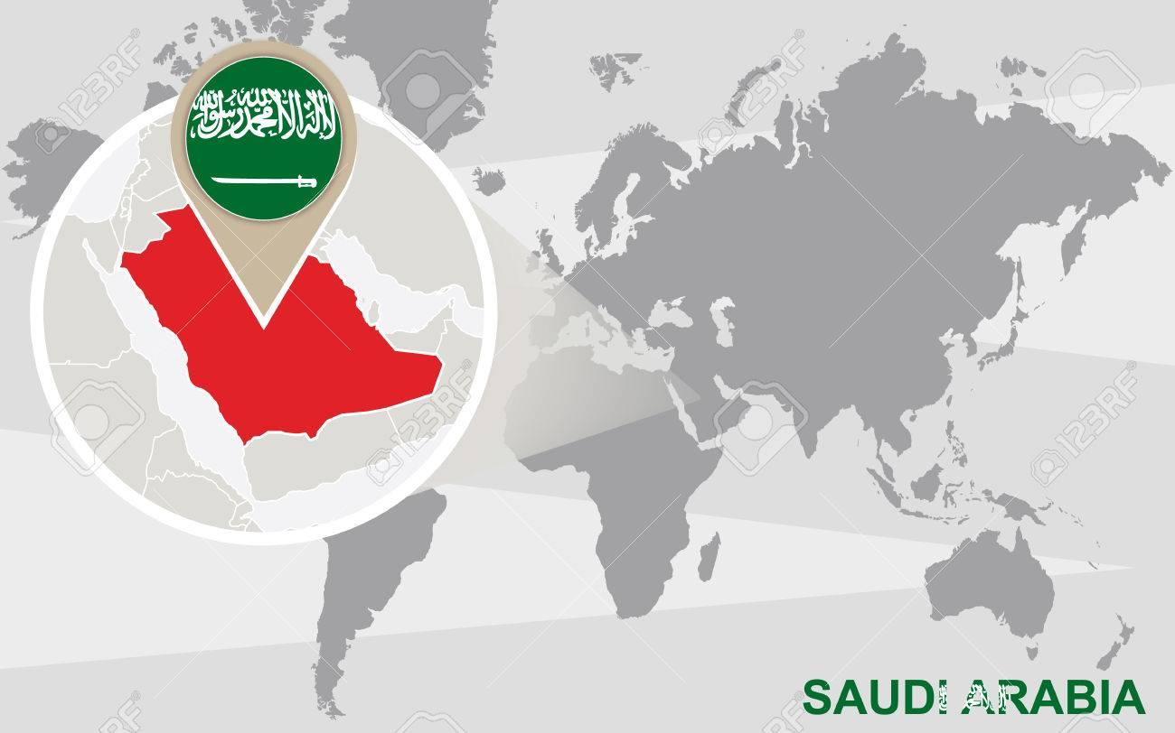 World map with magnified Saudi Arabia. Saudi Arabia flag and map. - 50040938