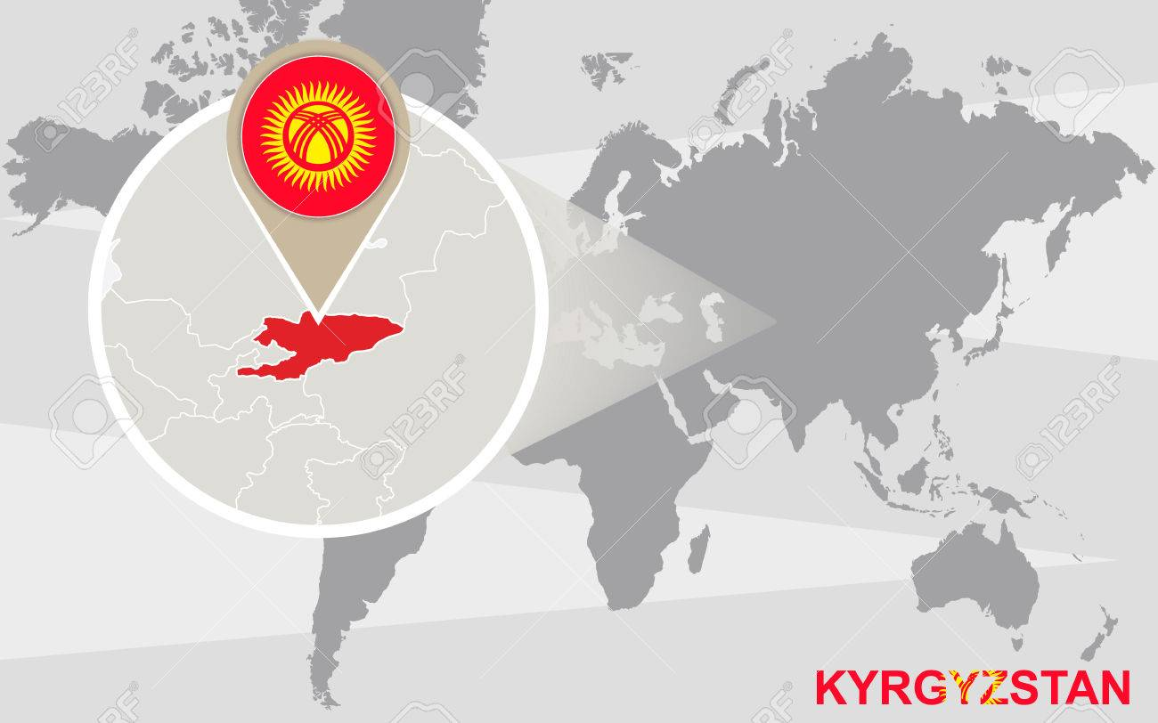 World map with magnified kyrgyzstan kyrgyzstan flag and map vector world map with magnified kyrgyzstan kyrgyzstan flag and map gumiabroncs Images