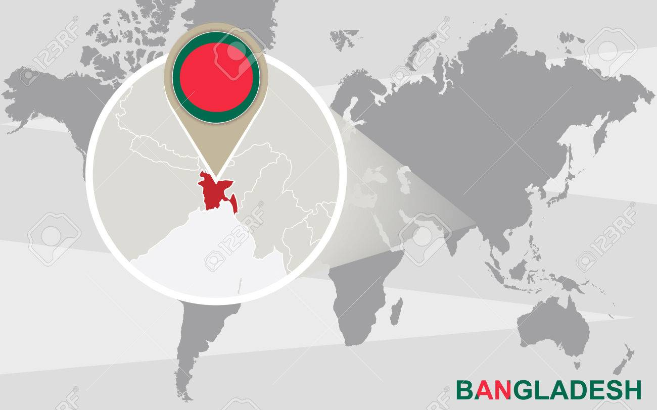 World map with magnified bangladesh bangladesh flag and map vector world map with magnified bangladesh bangladesh flag and map gumiabroncs Gallery