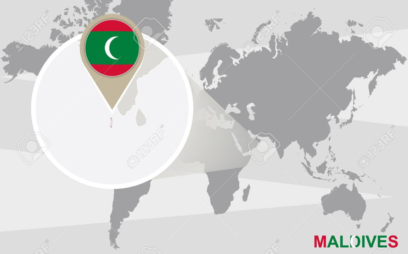 World Map With Magnified Maldives Maldives Flag And Map