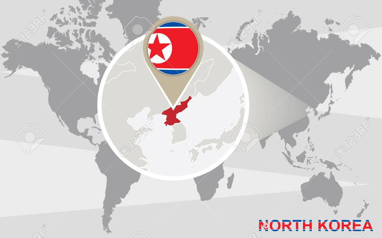 World map with magnified north korea north korea flag and map vector world map with magnified north korea north korea flag and map gumiabroncs Gallery