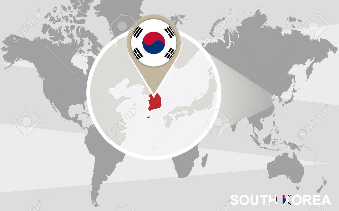 World Map With Magnified South Korea South Korea Flag And Map