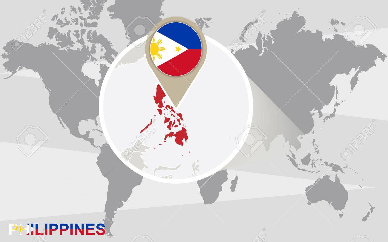 World Map With Magnified Philippines. Philippines Flag And Map ...