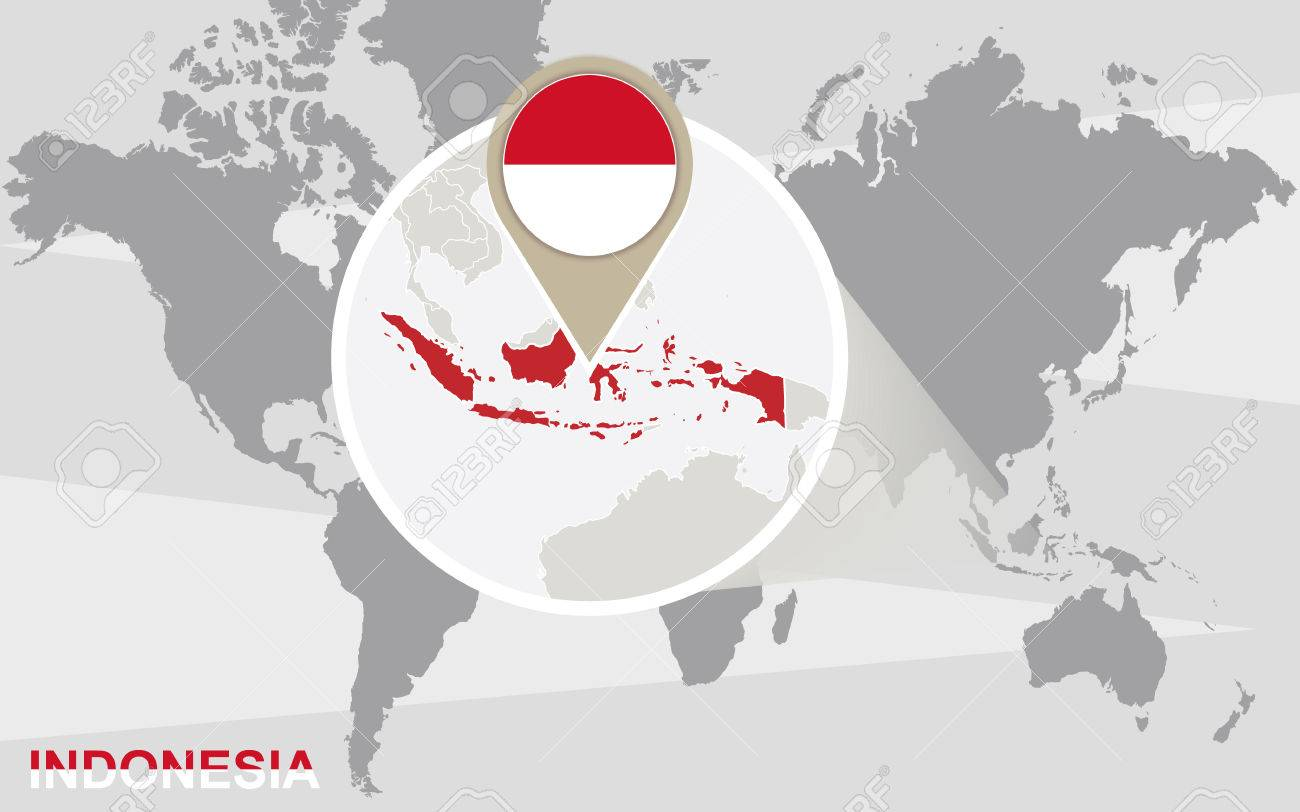 World map with magnified indonesia indonesia flag and map royalty vector world map with magnified indonesia indonesia flag and map gumiabroncs Gallery