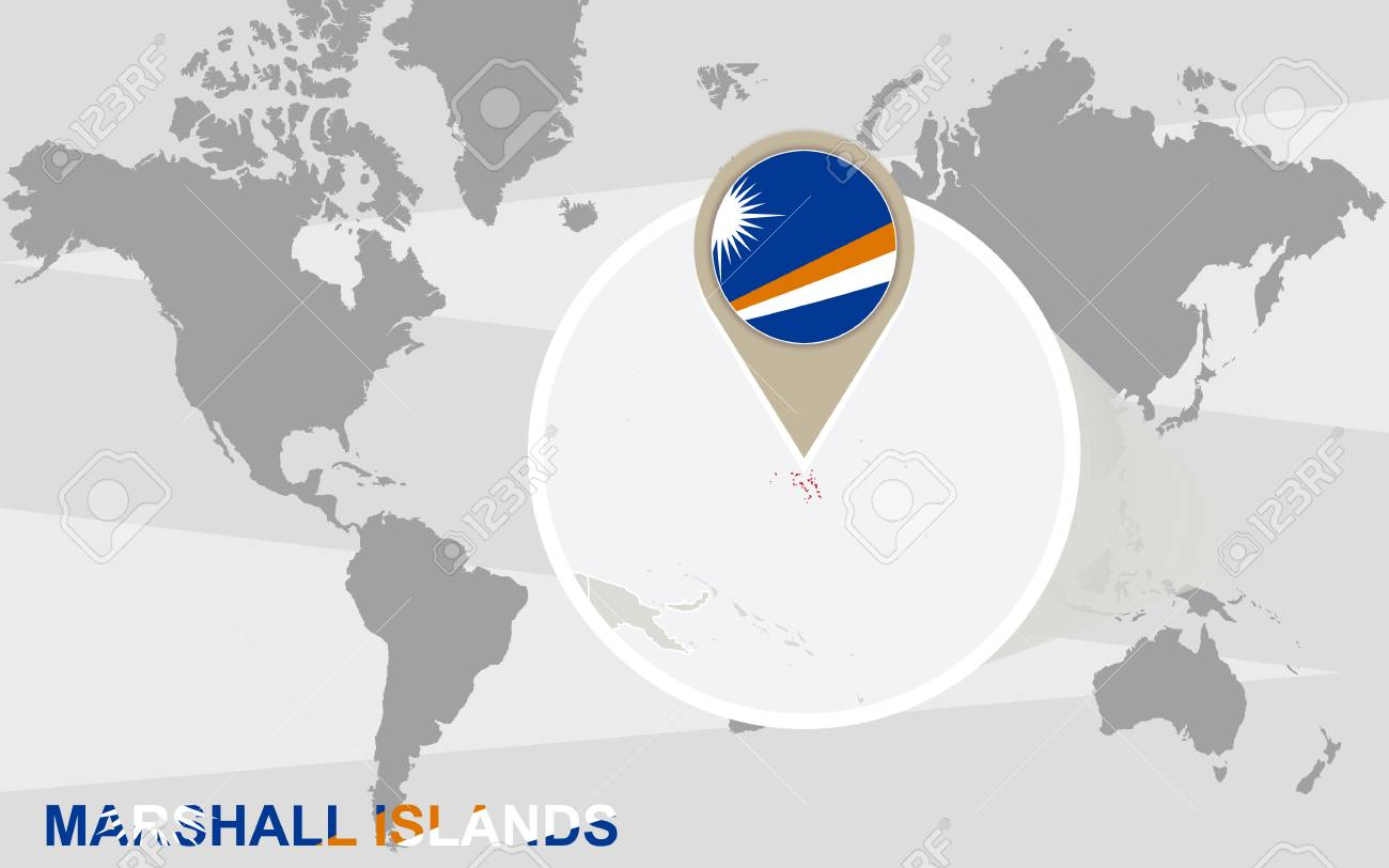World Map With Magnified Marshall Islands. Marshall Islands Flag ...