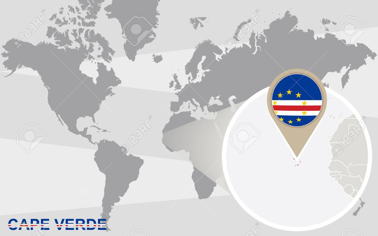 Where Is Cape Verde Located On The World Map.World Map With Magnified Cape Verde Cape Verde Flag And Map