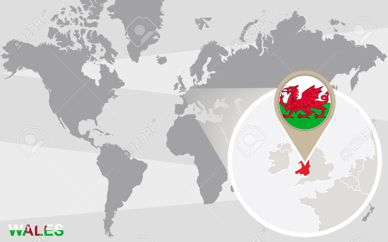 World Map With Magnified Wales. Wales Flag And Map. Royalty Free ...