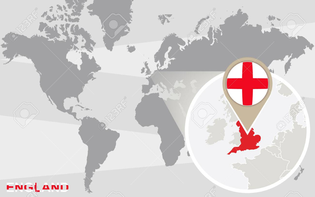 England On Map Of World.World Map With Magnified England England Flag And Map
