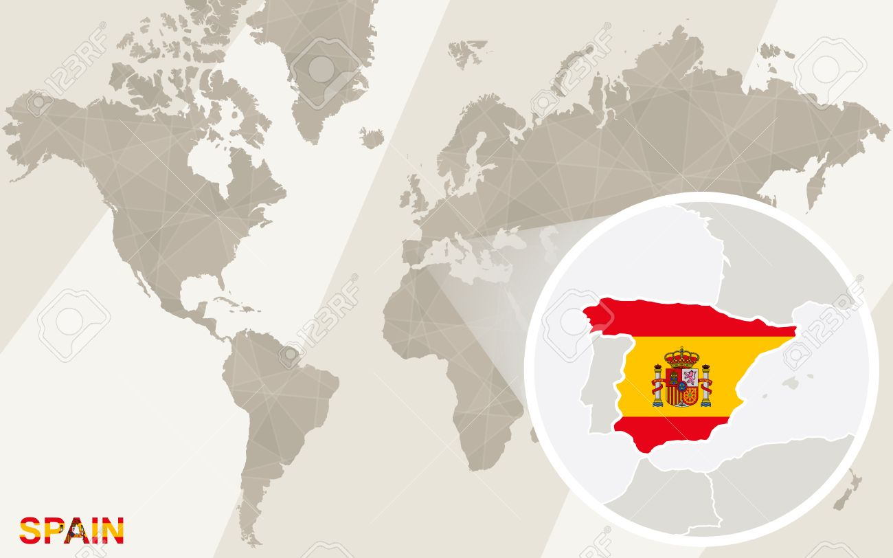 Zoom on Spain Map and Flag. World Map.