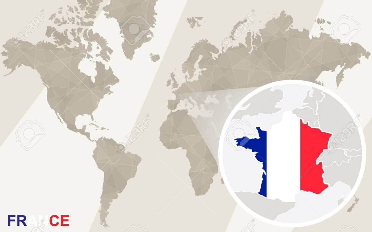 Zoom On France Map And Flag. World Map. Royalty Free Cliparts ...