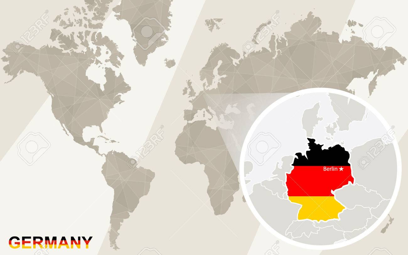 Zoom on Germany Map and Flag. World Map.