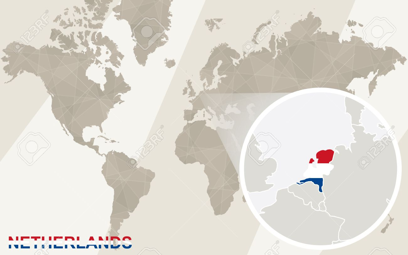 Zoom On Netherlands Map And Flag World Map Royalty Free Cliparts