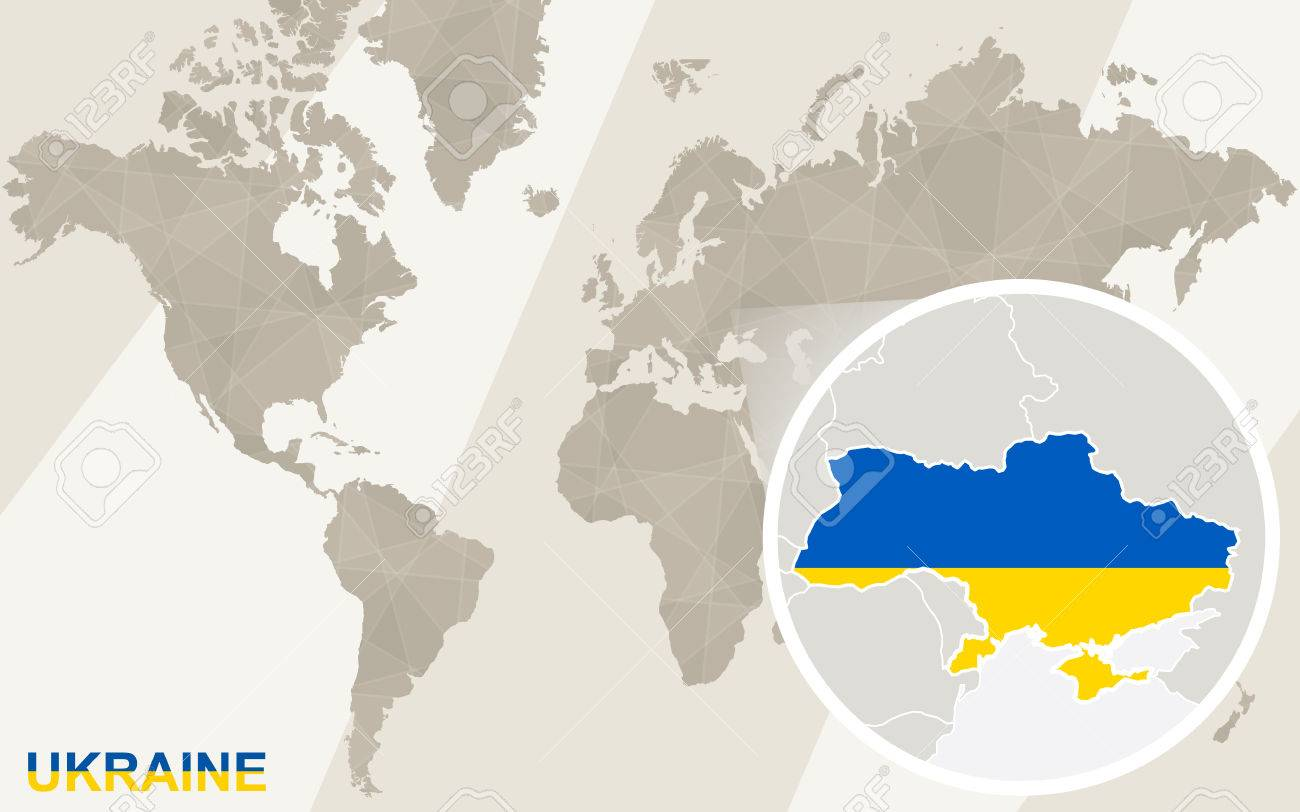 Zoom On Ukraine Map And Flag World Map Royalty Free Cliparts