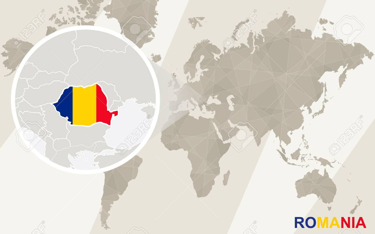 Vector   Zoom On Romania Map And Flag. World Map.