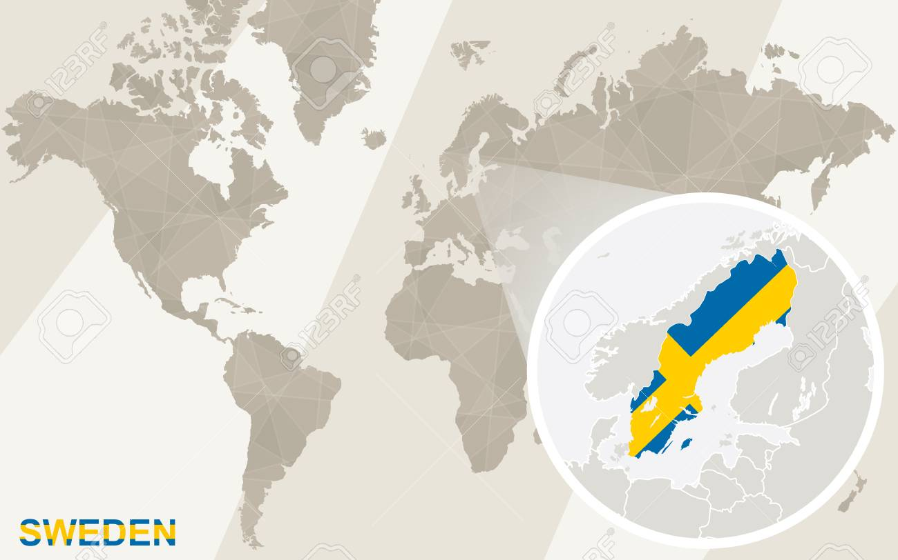 Zoom On Sweden Map And Flag. World Map. Royalty Free Cliparts ...